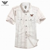 Chemise Armani Homme rayees Manches Courtes Soldes