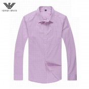 Chemise Armani Homme Manches Longue unies Rose Outlet France