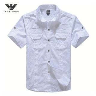 Chemise Armani Homme unies Manches Courtes Blanc Magasin Usine
