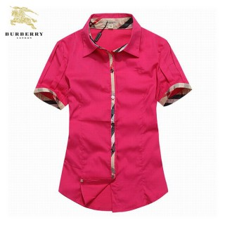 2017 Chemise Burberry Femme Manches Courtes Rouge Pas CheRe