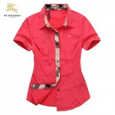 Chemise Burberry Femme Manches Courtes Rouge unies Magasin