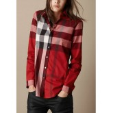 Chemise Burberry Femme Manches Longue Rouge Magasin Usine