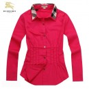 Chemise Burberry Femme Manches Longue Rouge unies Outlet Online