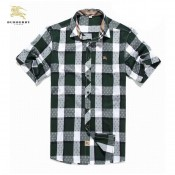 2017 Chemise Burberry Homme a carreaux Manches Courtes Blanc Europe