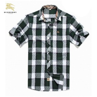 2015 Chemise Burberry Homme a carreaux Manches Courtes Blanc Europe