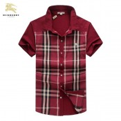 Chemise Burberry Homme Manches Courtes Rouge Multicolor Nouvelle Collection