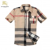 Chemise Burberry Homme Manches Courtes Beige rayees Magasin D Usine
