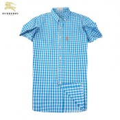 Chemise Burberry Homme Manches Courtes Bleu Magasin Usine