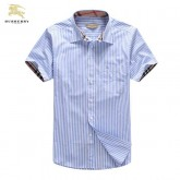 Chemise Burberry Homme Manches Courtes Bleu rayees Prix