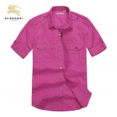 Chemise Burberry Homme Manches Courtes Rose unies Magasin France