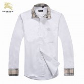 Chemise Burberry Homme Manches Longue Blanc unies Soldes