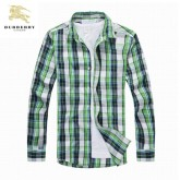 Chemise Burberry Homme Manches Longue Vert Soldes