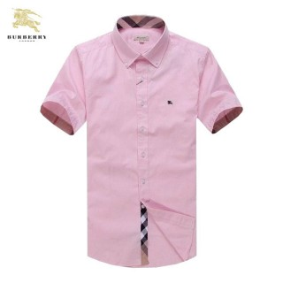 Chemise Burberry Homme unies Manches Courtes Rose Pas Cher France