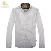 Chemise Burberry Homme unies Blanc Manches Longue Magasins