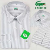 Chemise Lacoste Homme Manches Longue Blanc rayees Destock