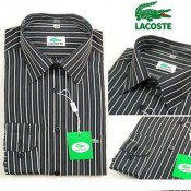 Chemise Lacoste Homme Manches Longue Noir rayees Pas Cher