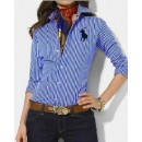 Chemise Polo Ralph Lauren Femme Manches Longue Bleu rayees Europe