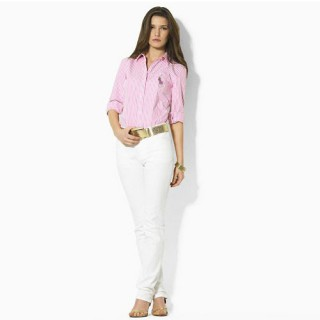 Chemise Polo Ralph Lauren Femme Manches Longue rayees Rose Vente Pas Cher