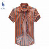 Chemise Polo Ralph Lauren Homme Manches Courtes Orange rayees Magasin D Usine