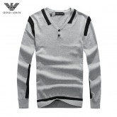 Pull Armani Homme Gris Col V Marque Pas Cher