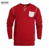 Pull Boss Homme Rouge Col rond Magasins Paris