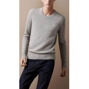 Pull Burberry Homme Pures Couleurs Gris Col rond Moins Cher