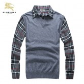 Pull Burberry Homme Col V Gris Boutique