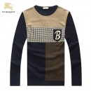 Pull Burberry Homme Col rond Manches Longue Beige Multicolor Acheter Pas Cher