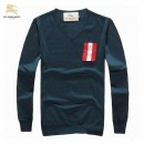 Pull Burberry Homme Col V Bleu Pures Couleurs Nouvelle Collection