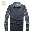 Pull Burberry Homme Col V Gris San Manches Vente Privee