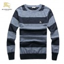 Pull Burberry Homme Gris Col rond Manches Longue Acheter