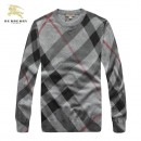 Pull Burberry Homme Manches Longue Gris Carree Soldes Boutique