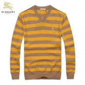 Pull Burberry Homme Marron Multicolor Col V Pas Chere