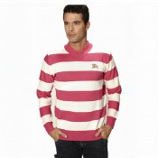 Pull Burberry Homme Rayures Col V Rose Pas Cher Fr