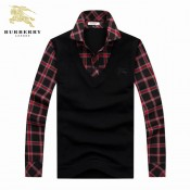 Pull Burberry Homme Col Polo Rouge Multicolor Marque Pas Cher