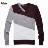 Pull D et G Homme Blanc Rayures Outlet