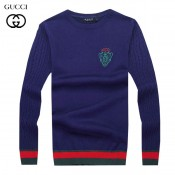 2017 Pull Gucci Homme Col rond Manches Longue Bleu Pas Chers