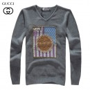 Pull Gucci Homme Col V Gris Paris Boutique