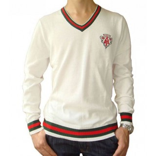 Pull Gucci Homme Manches Longue Col V Blanc Pures Couleurs Solde Pas Cher