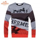 Pull Hermes Homme Col rond Manches Longue Gris Outlet Online