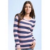 Pull Lacoste Femme Col rond Rose Rayures Moins Cher