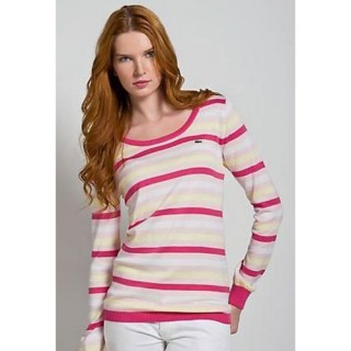 Pull Lacoste Femme Manches Longue Col rond Beige Rayures Magasin