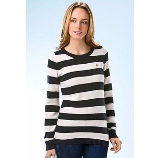 Pull Lacoste Femme Manches Longue Col rond Rayures Usine