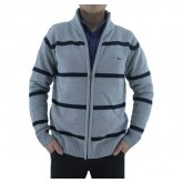 Gilet Lacoste Homme Col montant Manches Longue Gris Rayures Soldes Pas Cher
