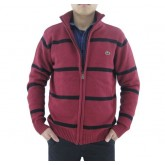 Gilet Lacoste Homme Manches Longue Rayures Rouge Pas Cher Fr