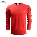 Pull Lacoste Homme Col rond Manches Longue Rouge Magasin Usine