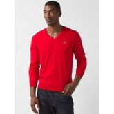 Pull Lacoste Homme Col V Rouge Manches Longue Destock