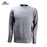 Pull Lacoste Homme Col rond Gris Pures Couleurs Soldes Chez