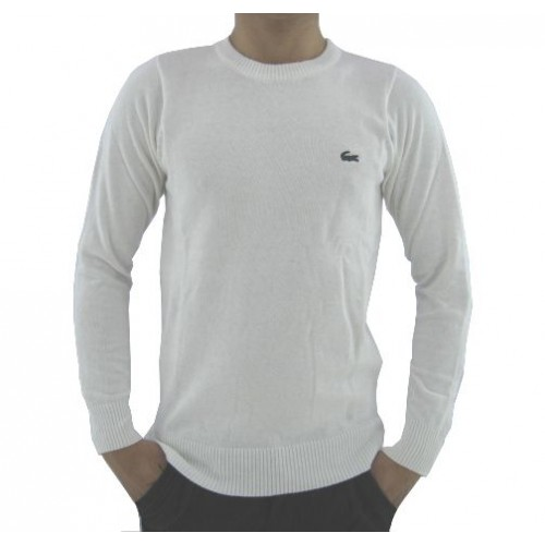 979f1ac403 Pull Lacoste Homme Col rond Manches Longue Blanc Pures Couleurs Boutique  Lille