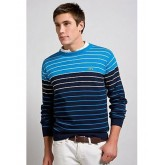 Pull Lacoste Homme Col rond Manches Longue Bleu Rayures Soldes Boutique